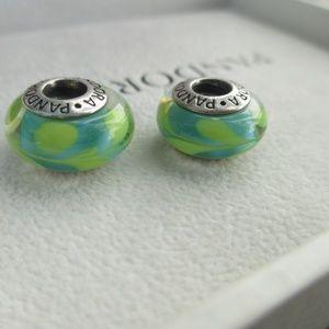 lot of 2  Pandora Aqua/Green Swirly Swirl Murano